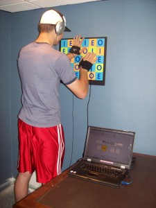 Young man using the interactive metronome