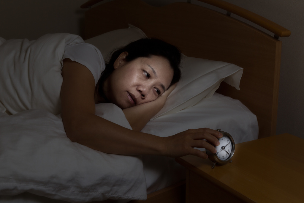 person cannot sleep due to a sleep disorder