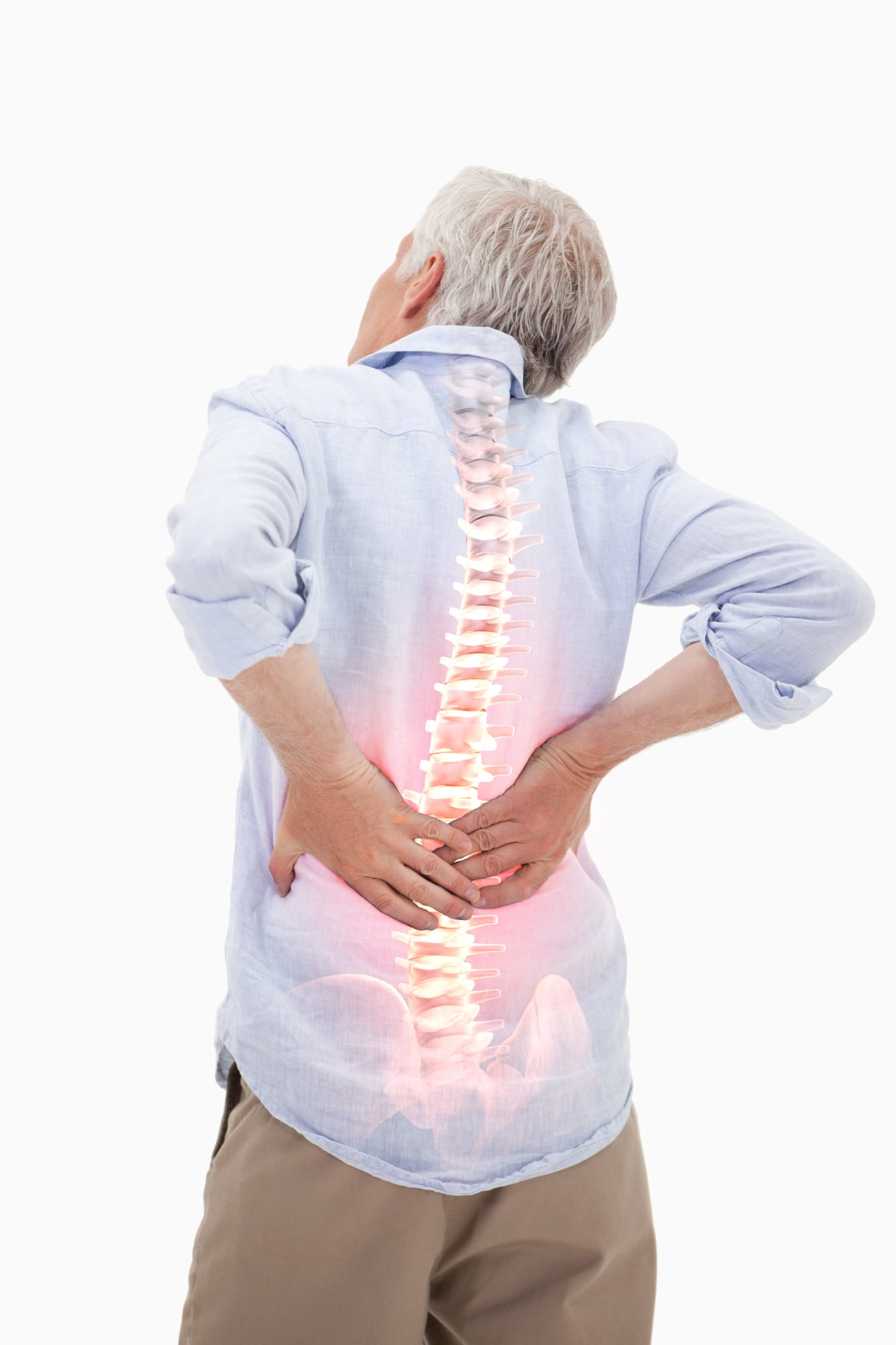 elderly man with chronic back pain